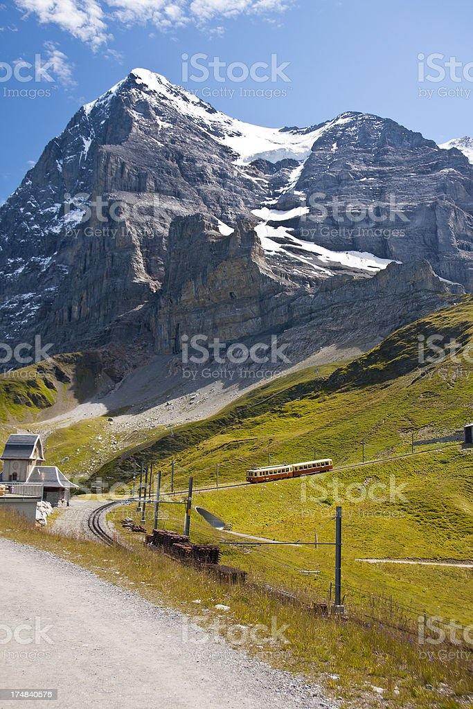 Jungfraubahn And Eiger, Swiss Alps stock photo