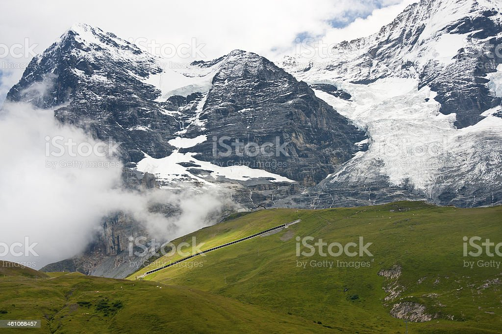 Jungfraubahn And Eiger, Swiss Alps royalty-free stock photo