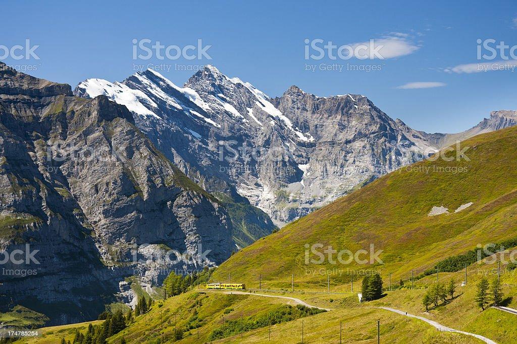 Jungfraubahn And Gspaltenhorn, Swiss Alps stock photo