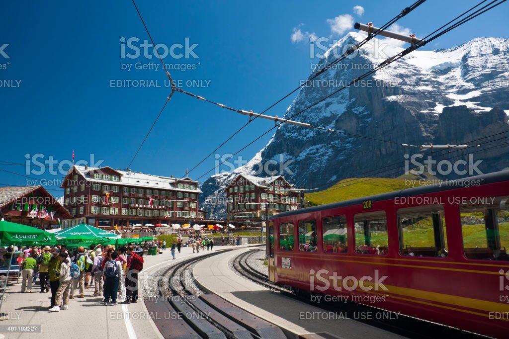 Jungfraubahn And Kleine Scheidegg Station, Swiss Alps stock photo