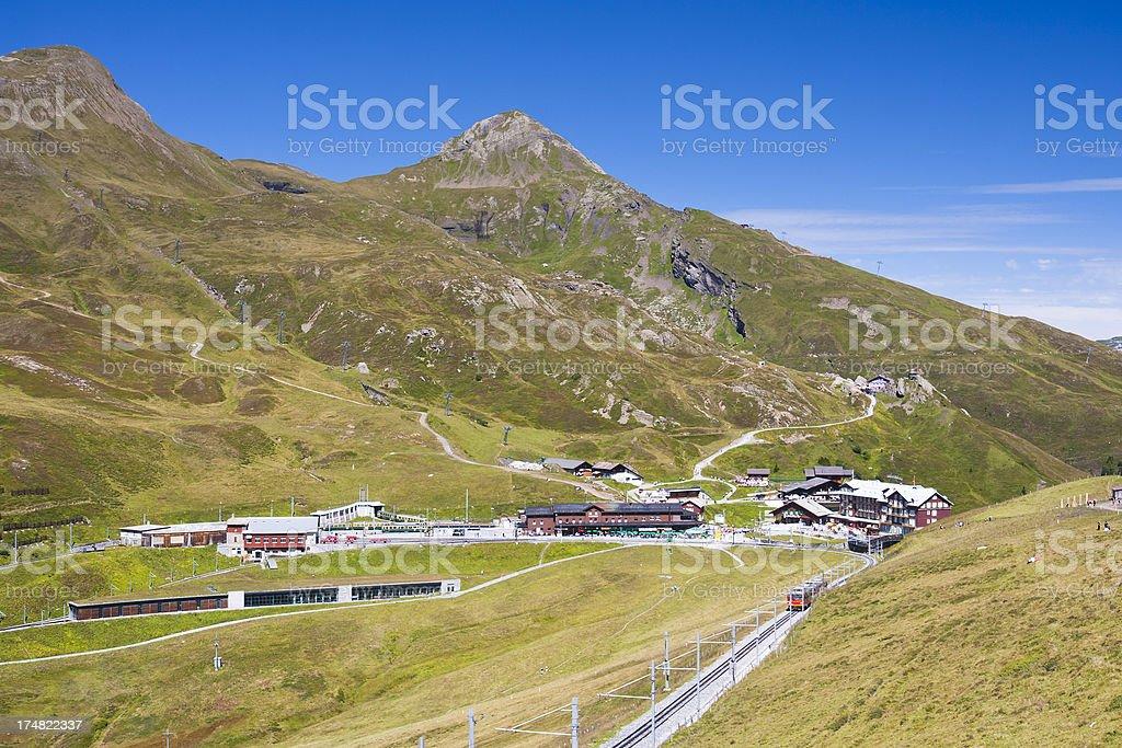 Jungfraubahn And Kleine Scheidegg, Swiss Alps stock photo