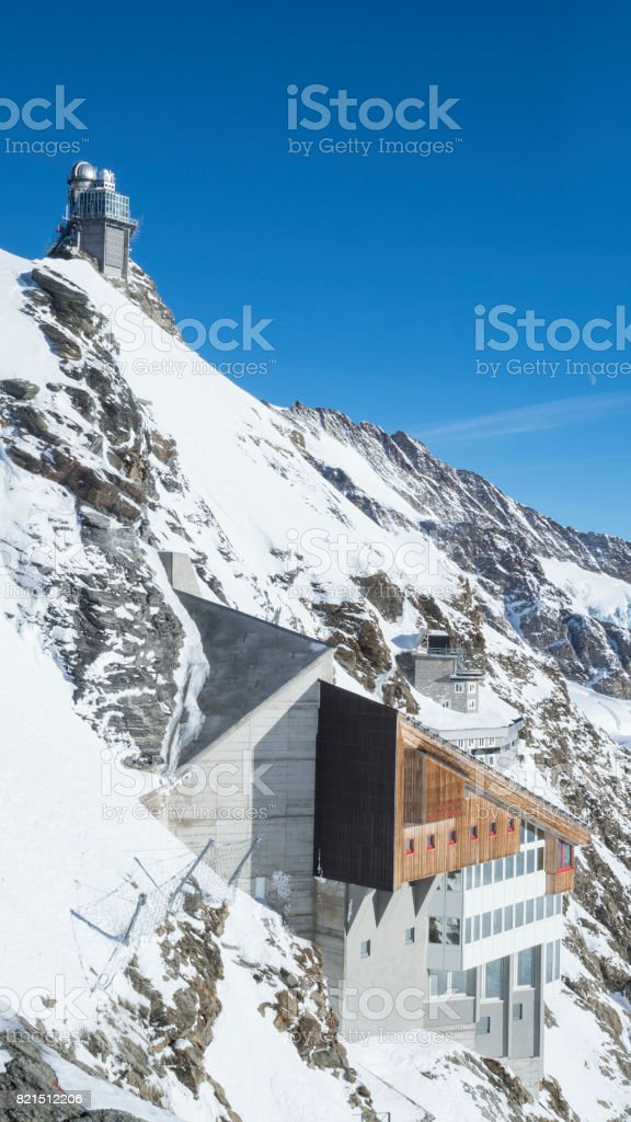 Jungfraujoch glacier snowcapped mountain range stock photo