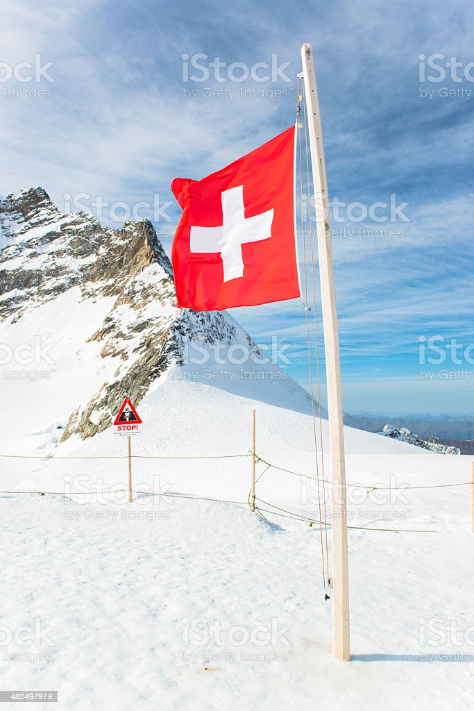 Jungfraujoch, Part of Swiss Alps Alpine Snow Mountain Landscape royalty-free stock photo