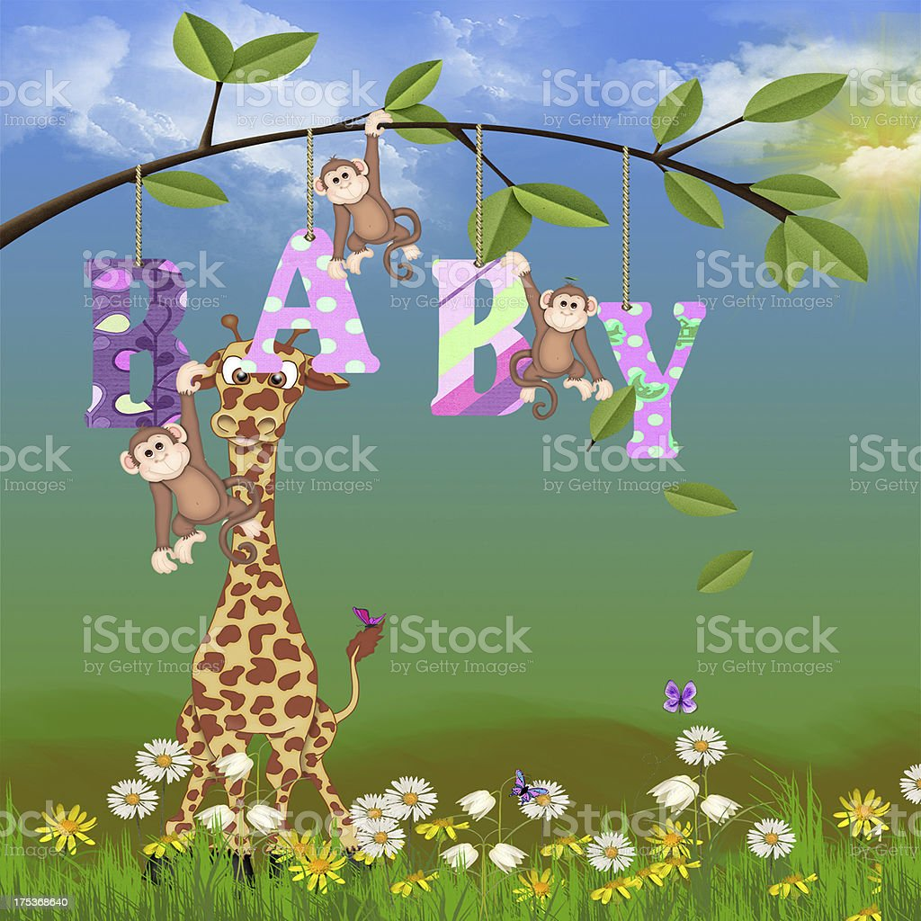 jungle animals for baby girl royalty-free stock photo