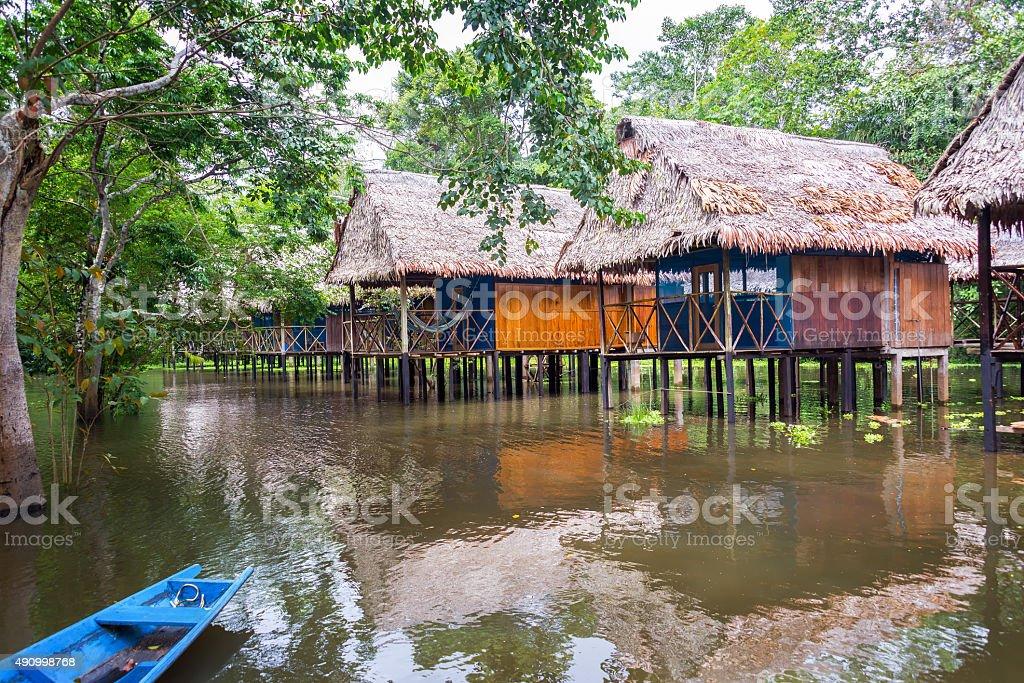 Jungle Bungalows on Stilts stock photo