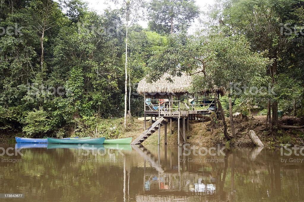 Jungle Lodge in Ecuador Rainforest royalty-free stock photo