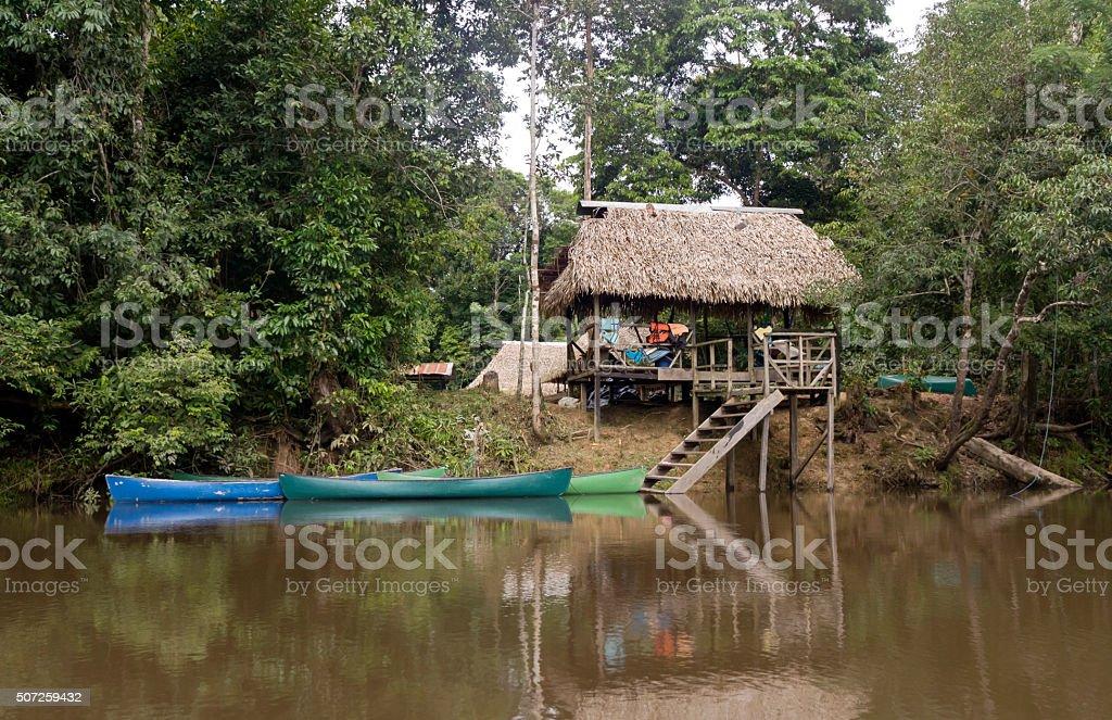 Jungle Lodge in Ecuador Rainforest stock photo