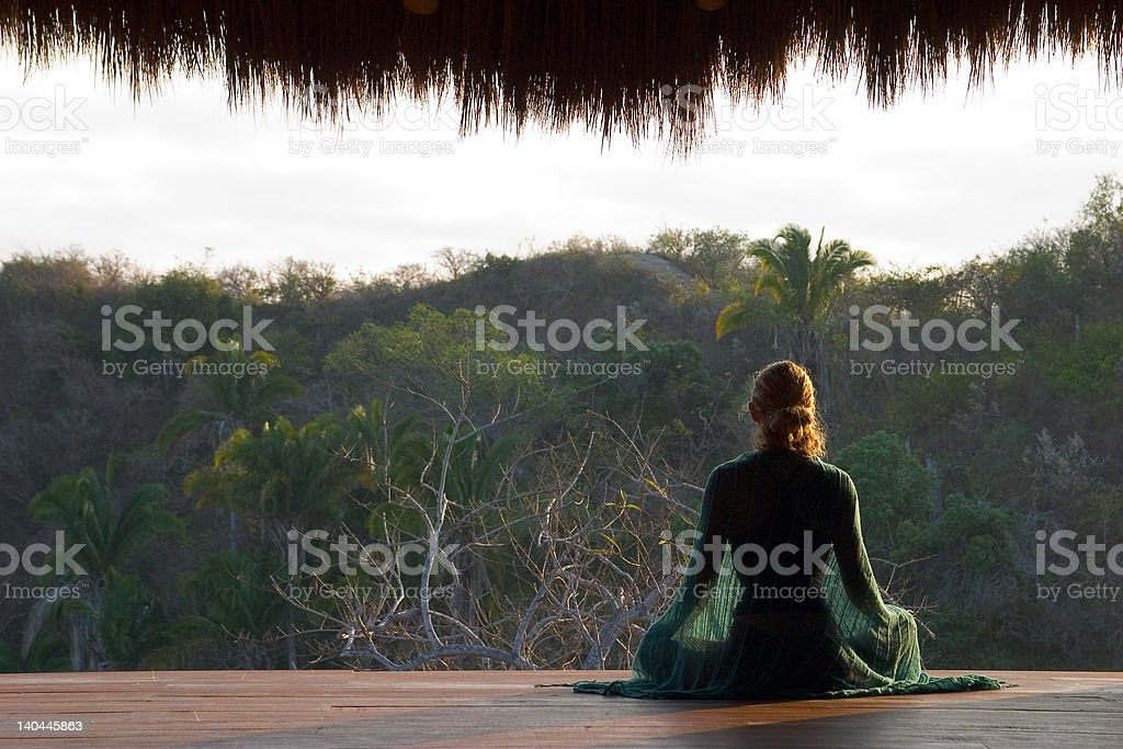 jungle meditation stock photo