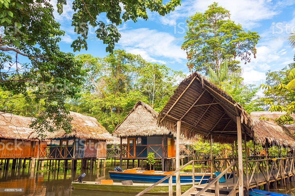 Jungle Shacks stock photo