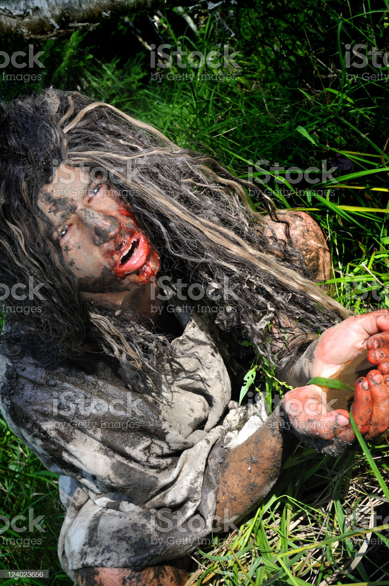 Jungle Wildboy Quenches His Thirst royalty-free stock photo