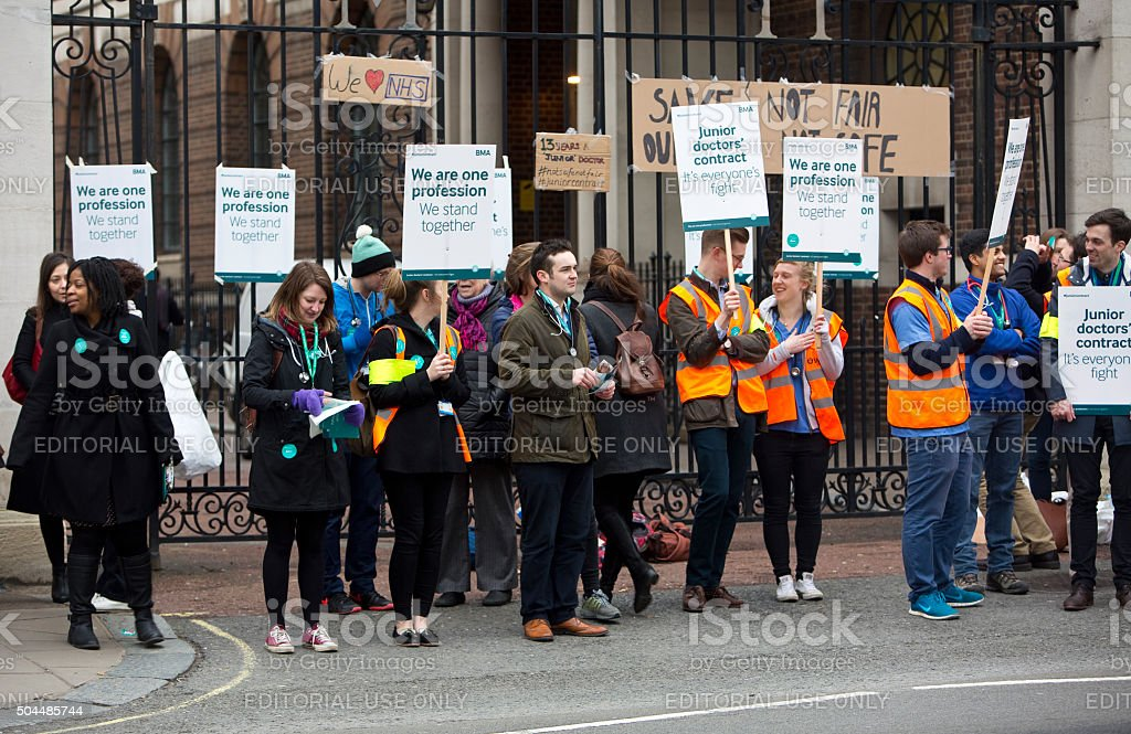 Junior Doctors are Striking in England stock photo