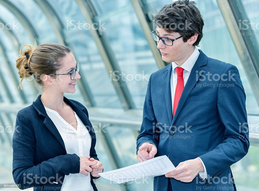 Junior executives dynamics consulting commercial documents royalty-free stock photo