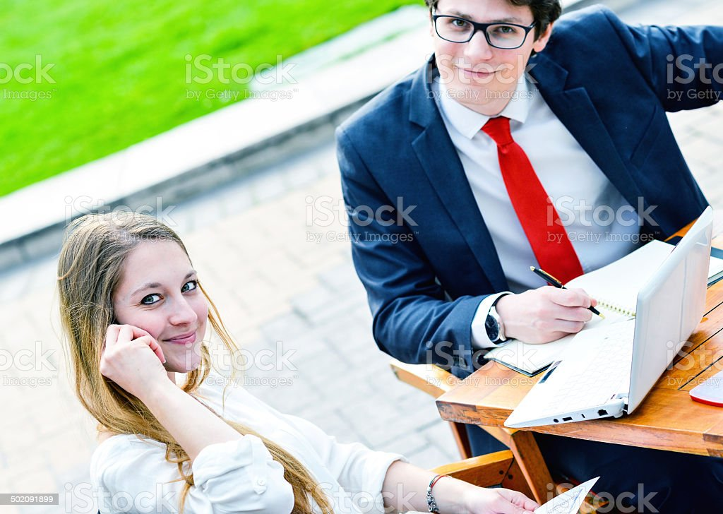 Junior executives dynamics working outside of their office royalty-free stock photo
