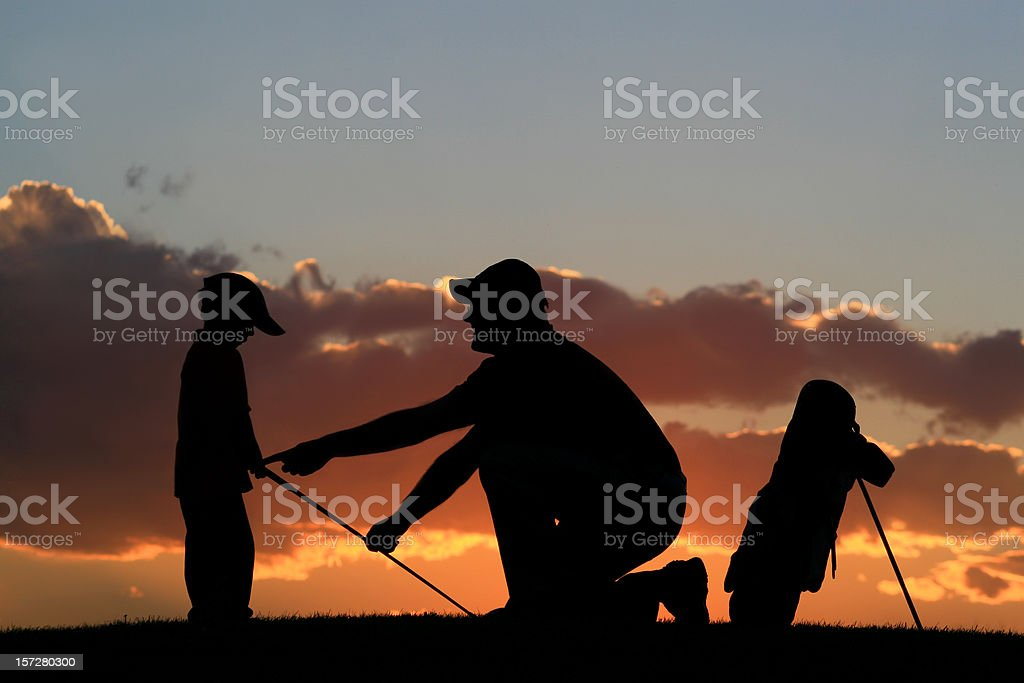 Junior Golf Lesson With Insructor royalty-free stock photo