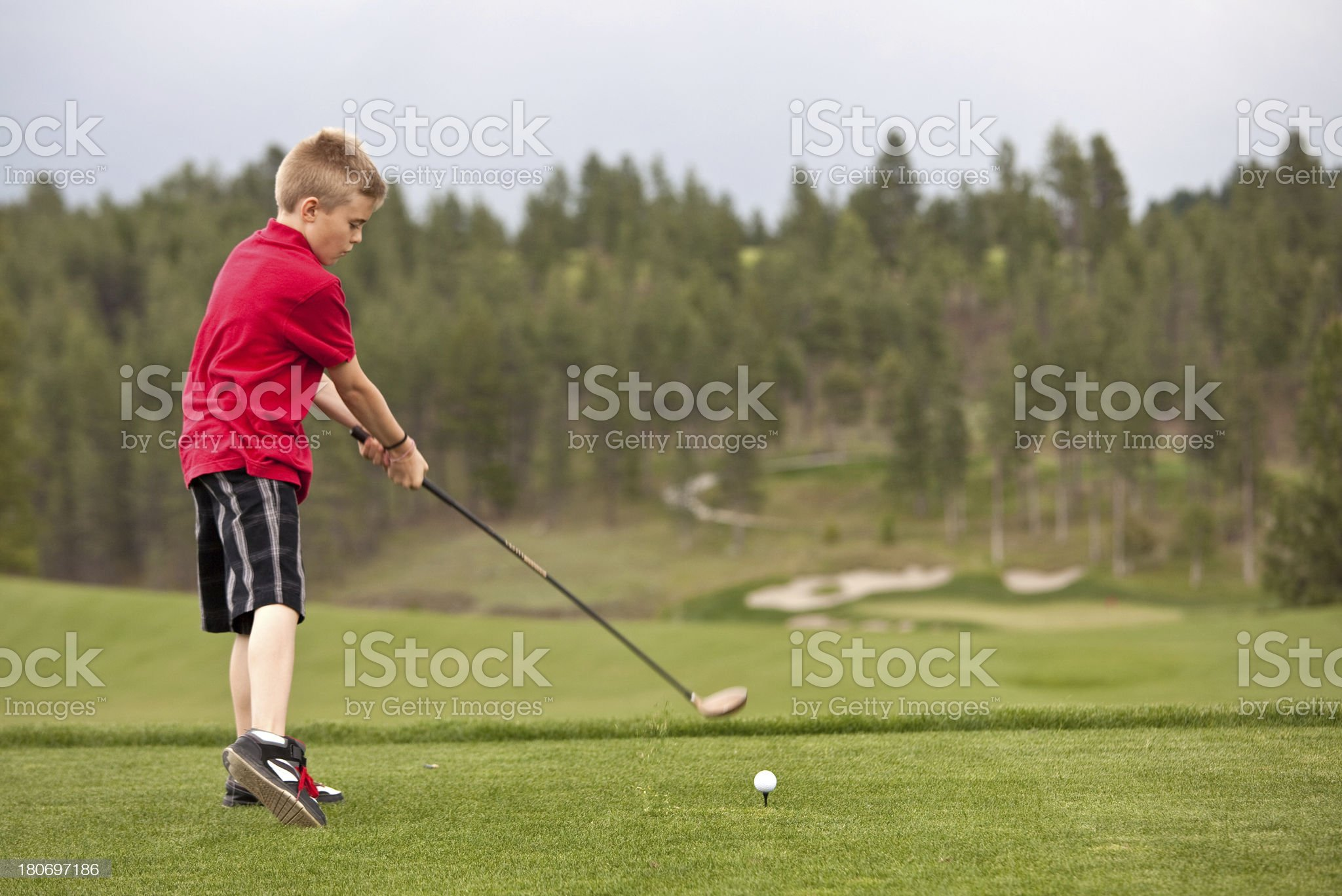 Junior Golfer Missing The Ball royalty-free stock photo