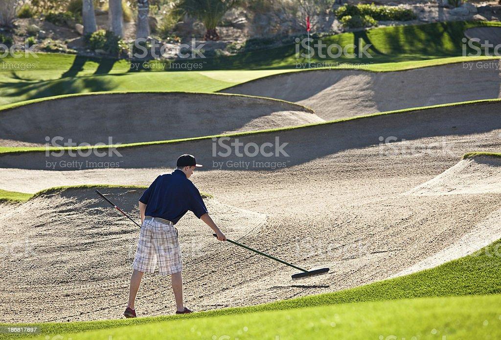 Junior Golfer Raking Bunker stock photo