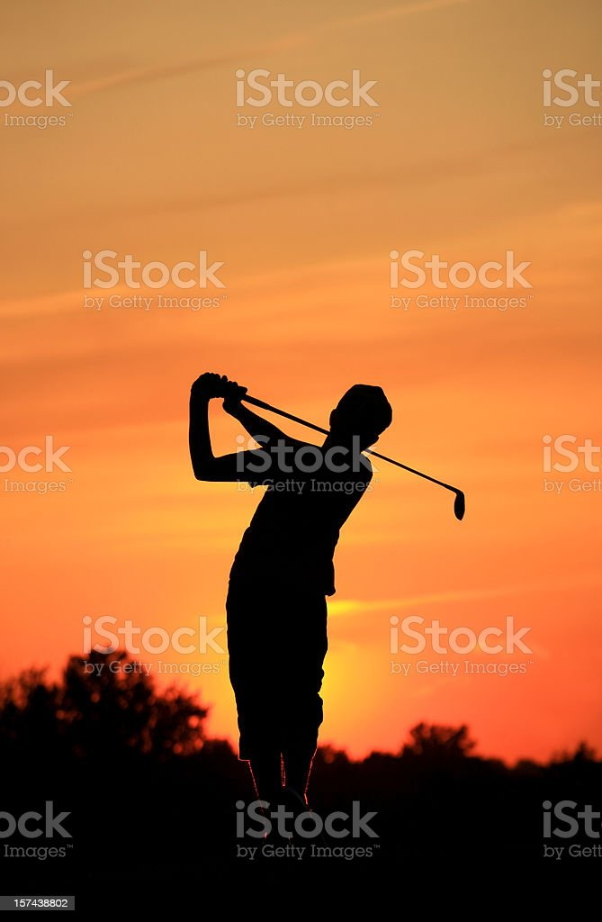 Junior Golfer Silhouette royalty-free stock photo
