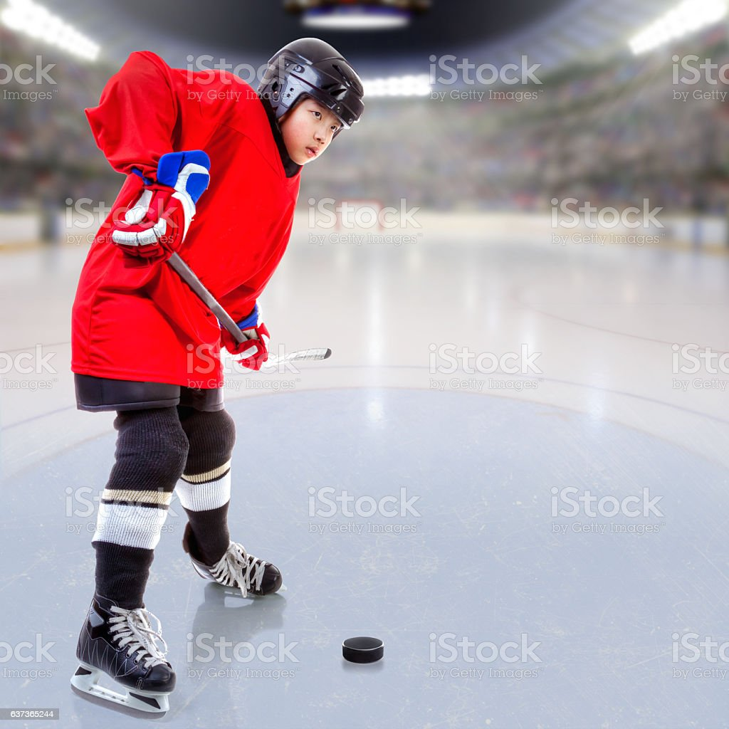 Junior Ice Hockey Player in Crowded Arena stock photo
