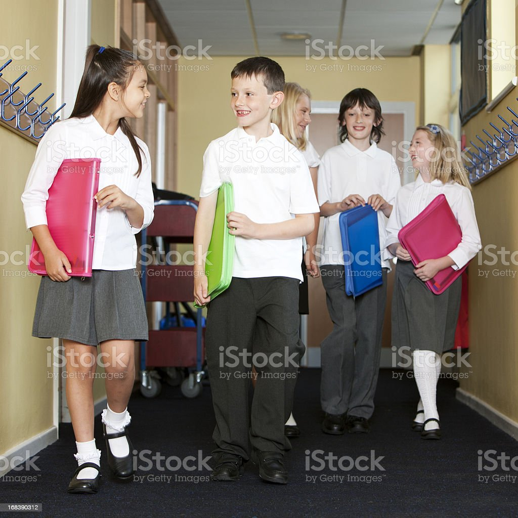 junior school: walking to class royalty-free stock photo