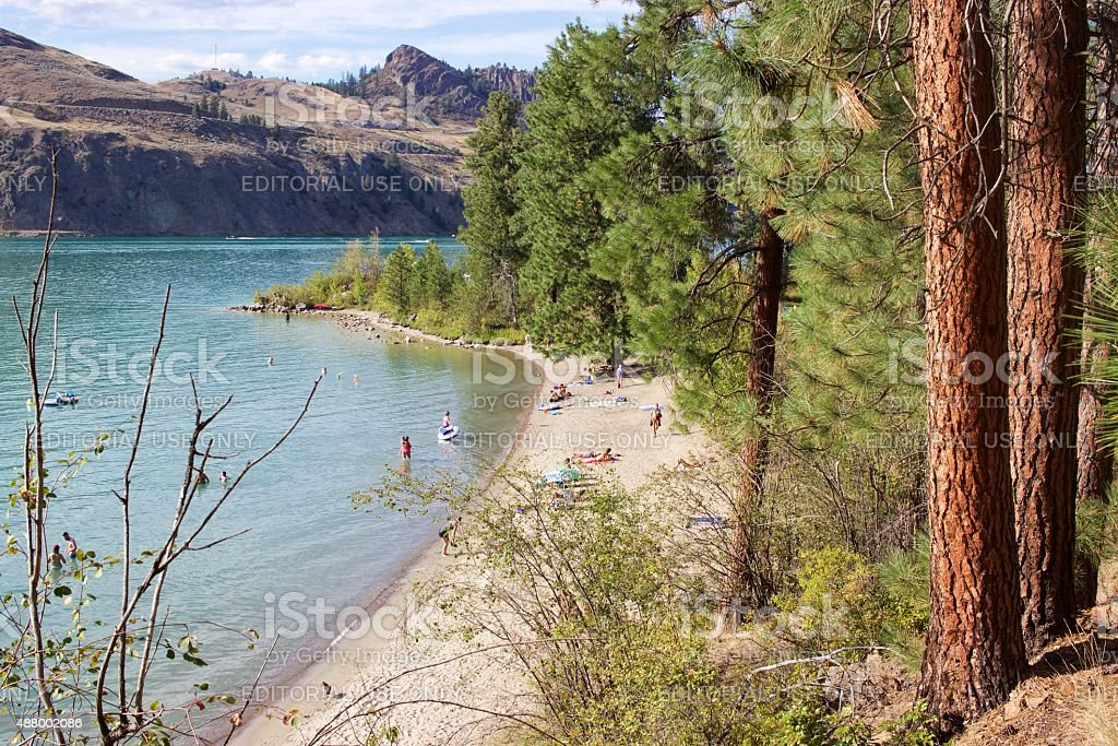 Juniper Bay beach at Kalamalka Lake Provincial Park, Vernon, B.C. stock photo