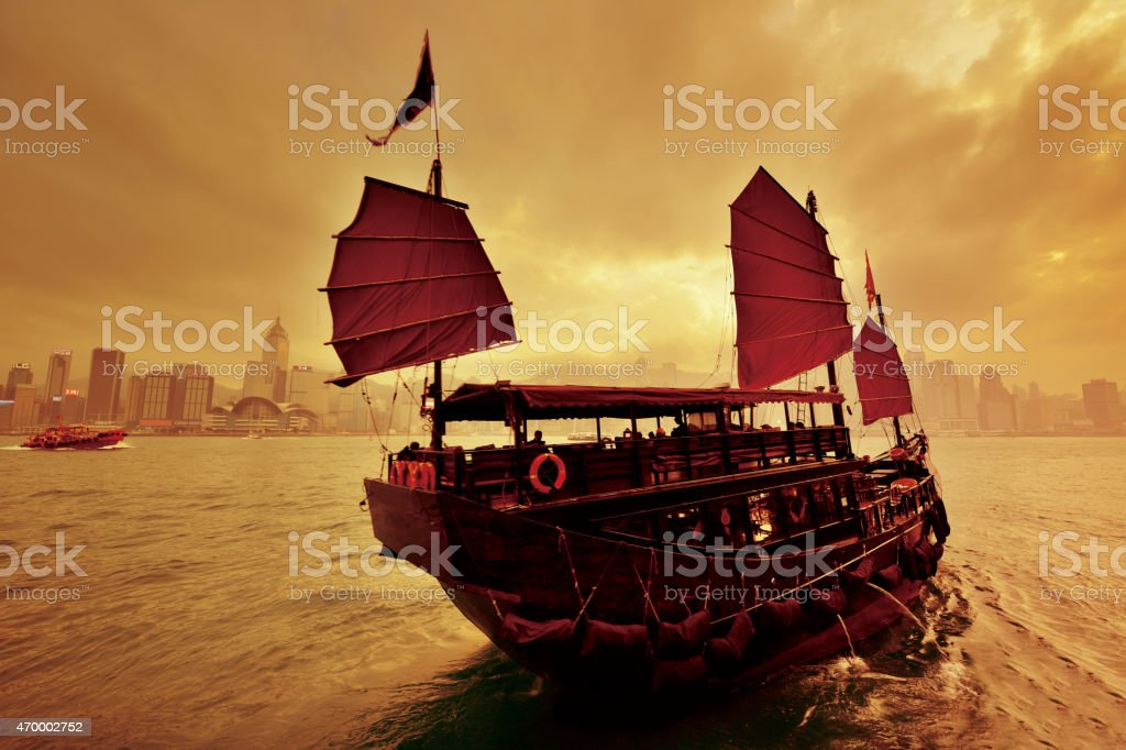 Junk Boat at Hong Kong, Victoria Harbour stock photo