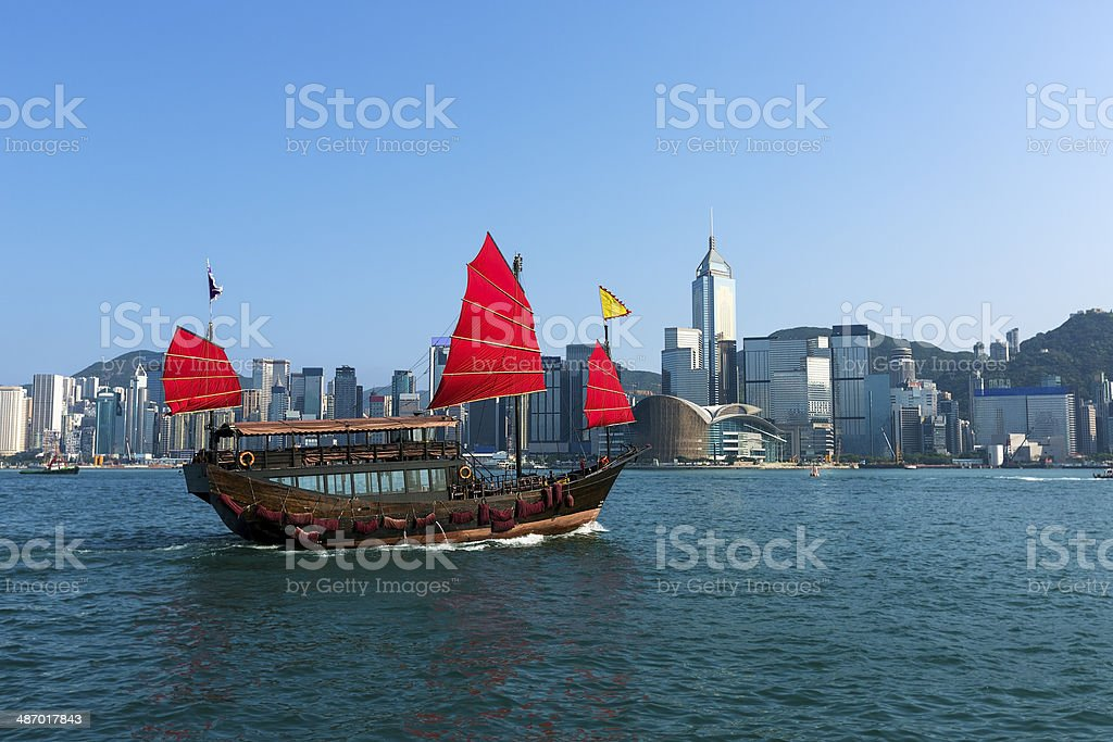 Junk boat in Hong Kong stock photo