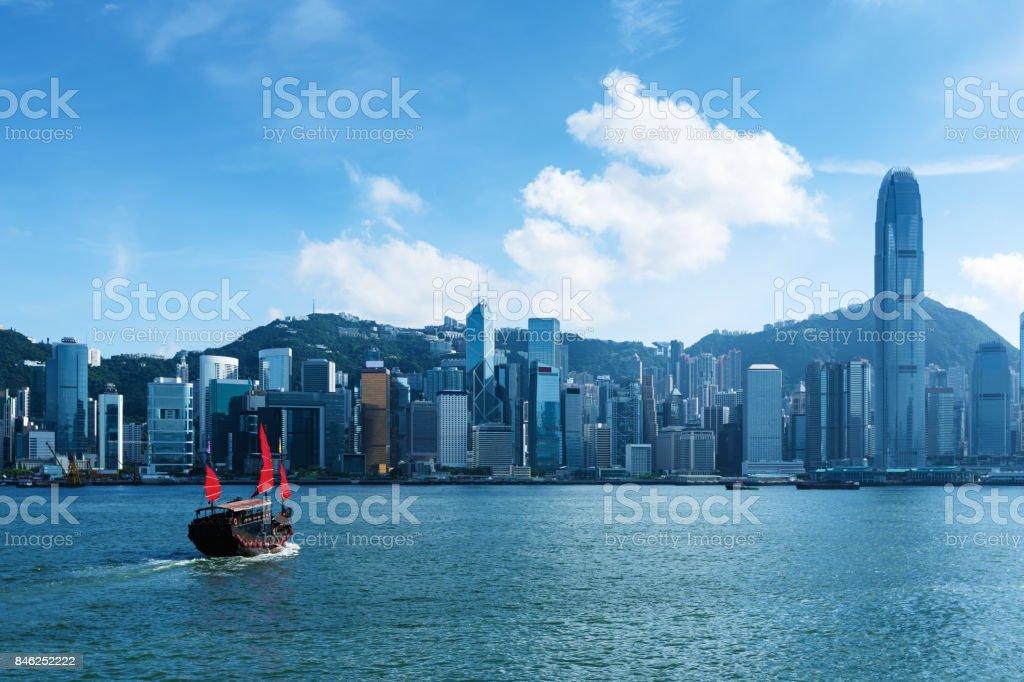 Junk boat in Hong Kong stock photo