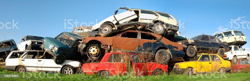 Junk Car Mountain stock photo