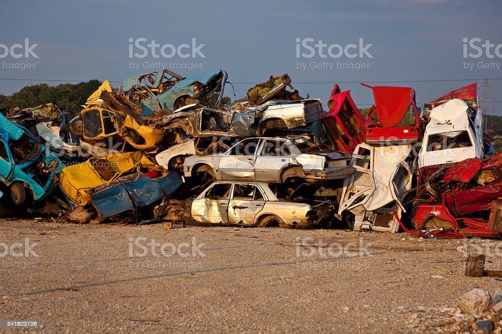 Junk Cars On Junkyard stock photo