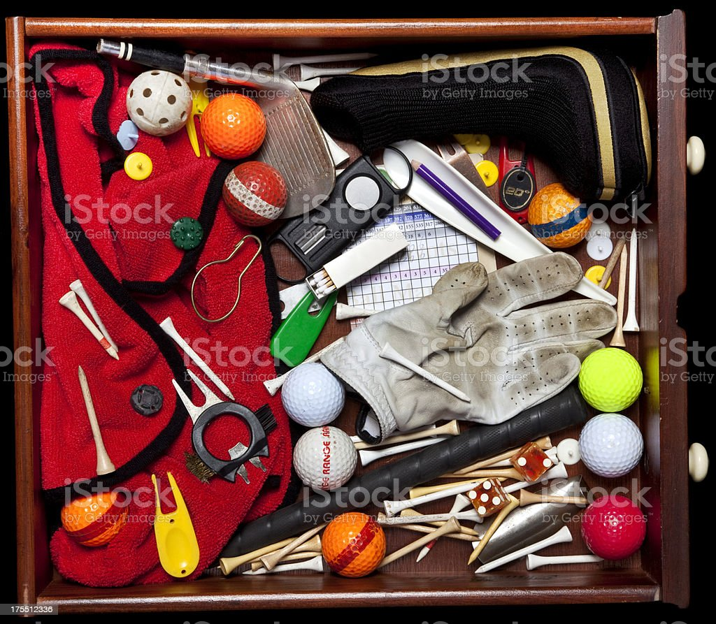 Junk Drawer of golfer with golfing objects stock photo