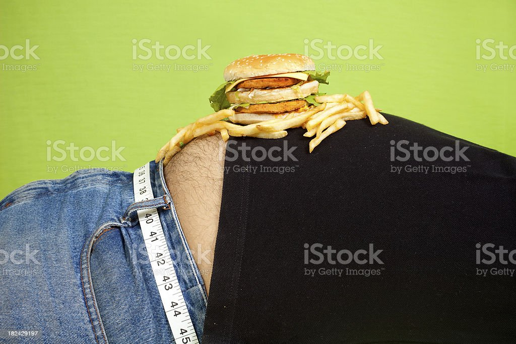 Junk Food Burger and fries placed on Tummy Stomach royalty-free stock photo