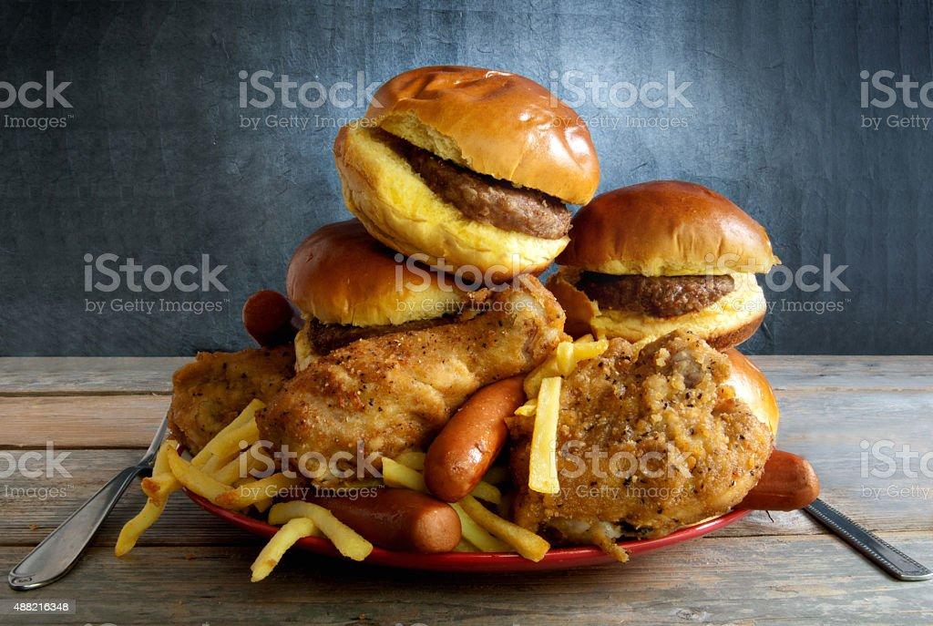 Junk food diet stock photo