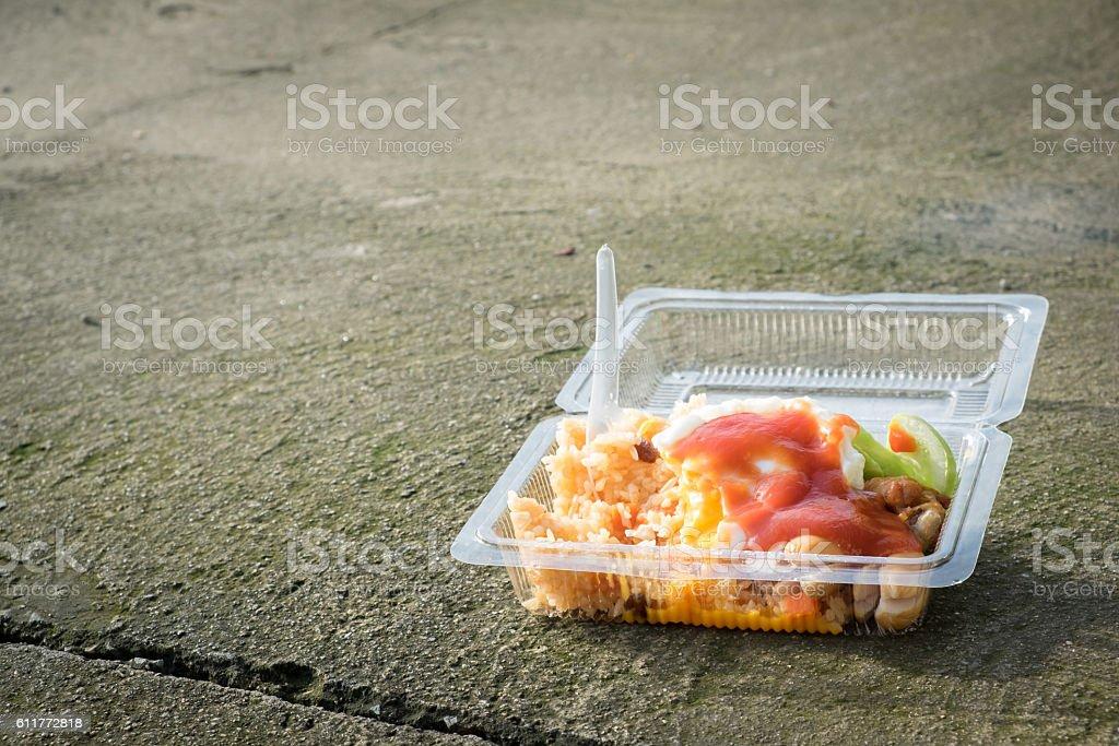 Junk food on the floor. stock photo