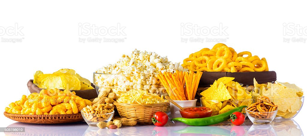 Junk Food on White Background stock photo