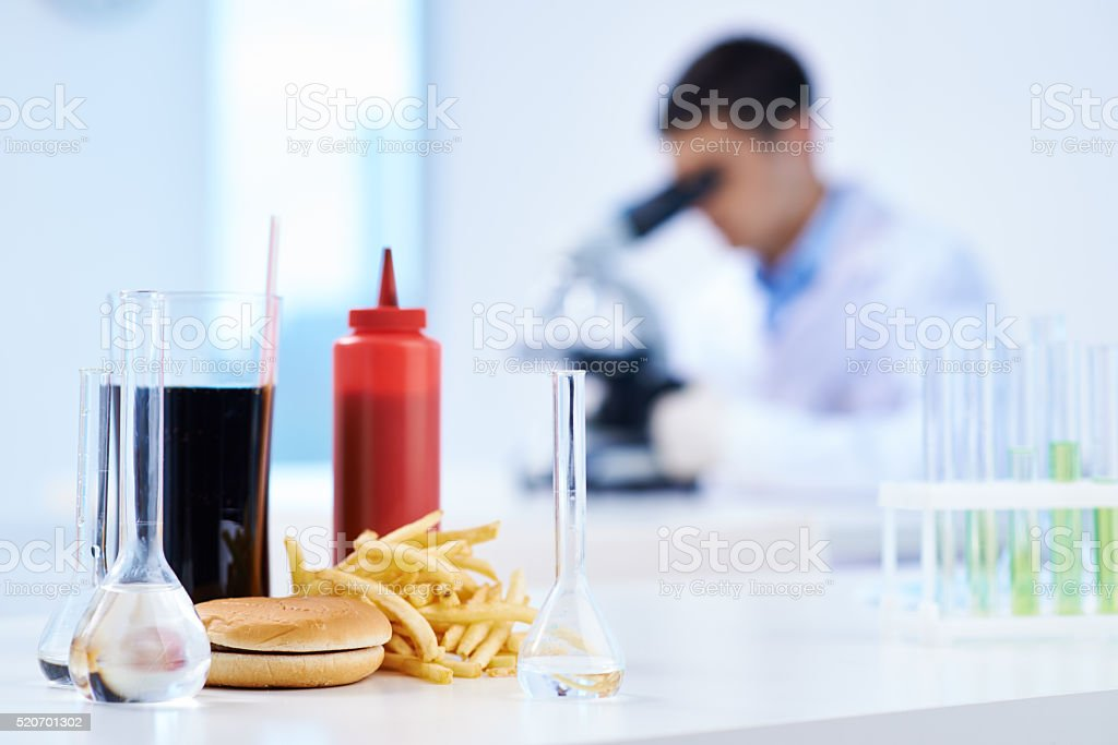 Junk food science stock photo