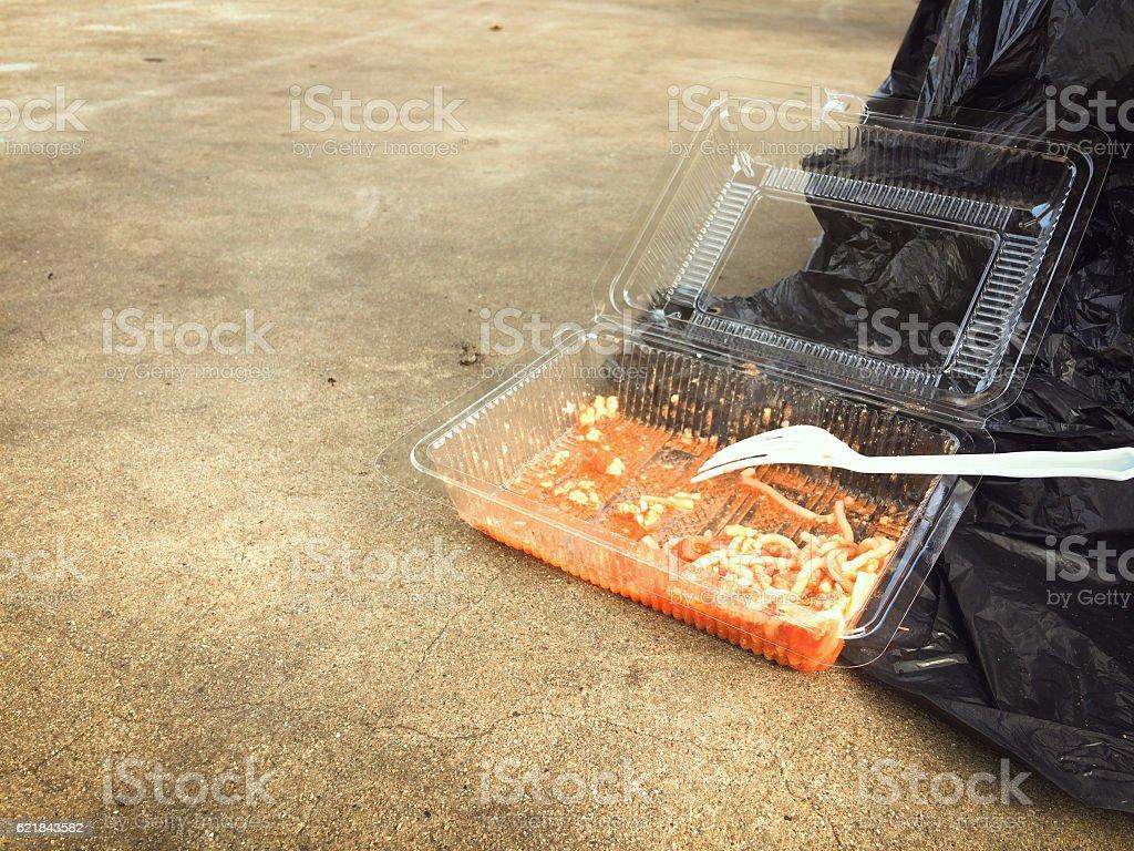 Junk food, Spaghetti in plastic box. stock photo