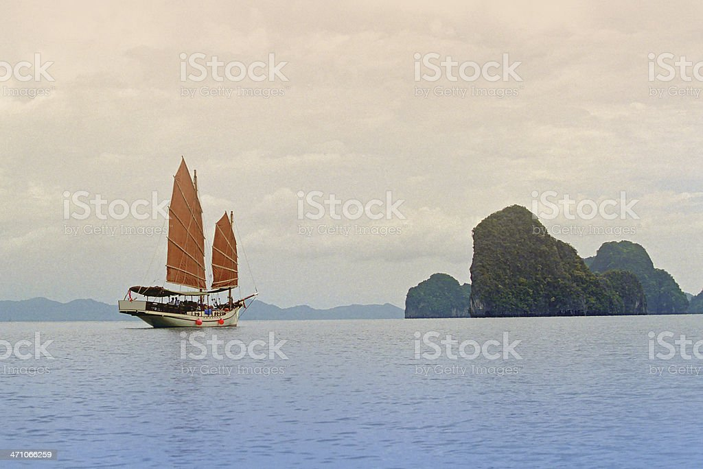 Junk In Phang Nga Bay royalty-free stock photo