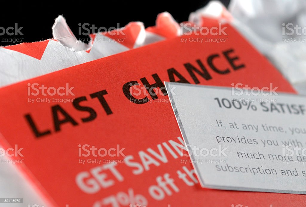 Junk mail letters with last chance on an envelope stock photo