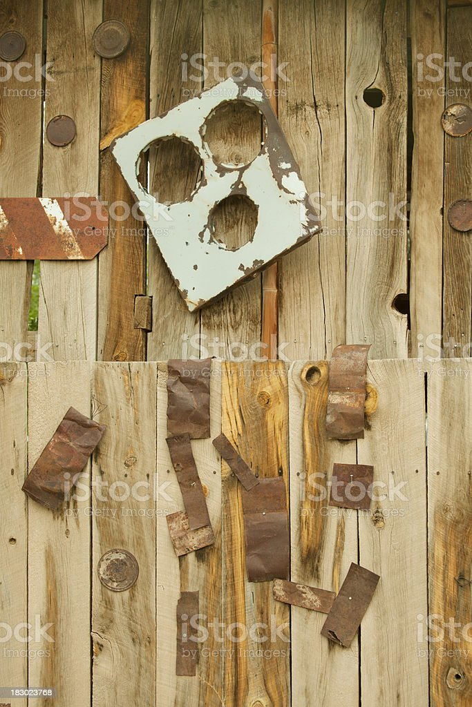 Junk Objects Nailed to Fence, Grunge stock photo