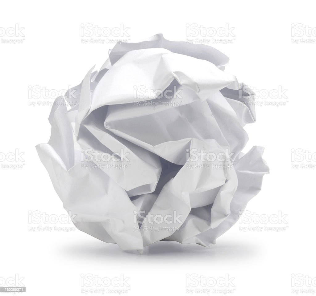 Junk or Crumpled sheet of blank paper in ball shape stock photo
