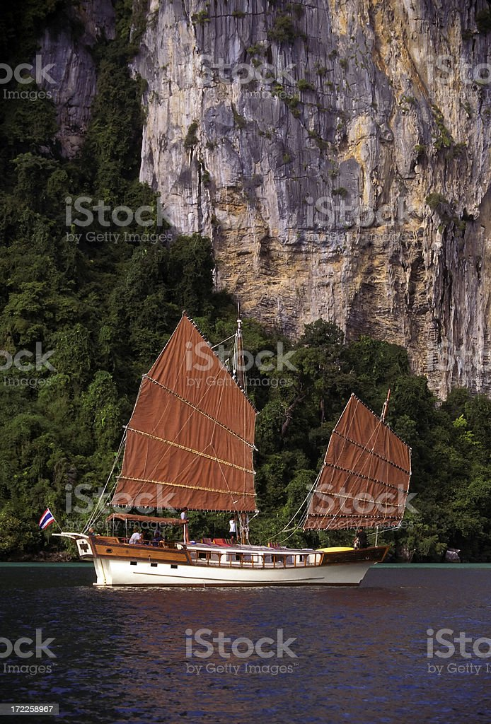 junk ship sailboat phuket thailand royalty-free stock photo