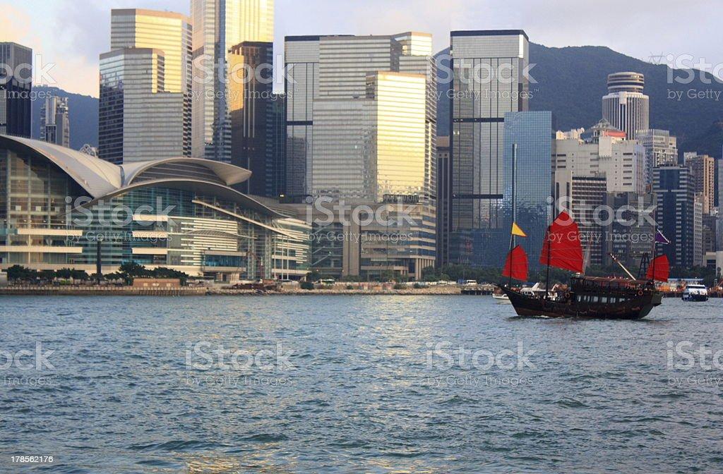 Junkboat in Hong Kong. royalty-free stock photo