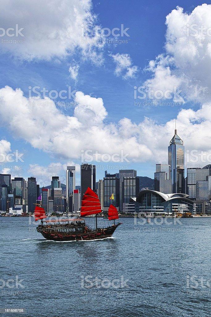Junkboat in Hong Kong royalty-free stock photo