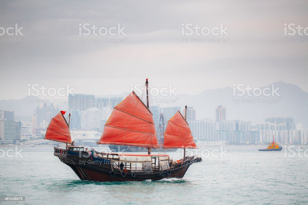 Junkboat in Hong Kong stock photo