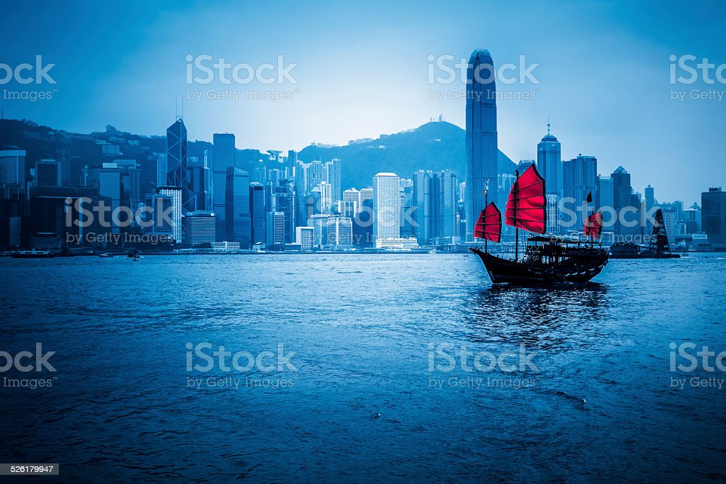 Junkboat  of hong kong stock photo