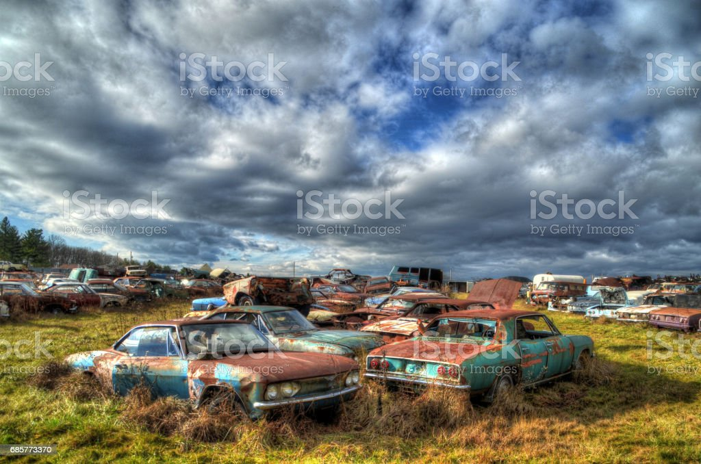 HDR junkyard Corvairs 7100 stock photo