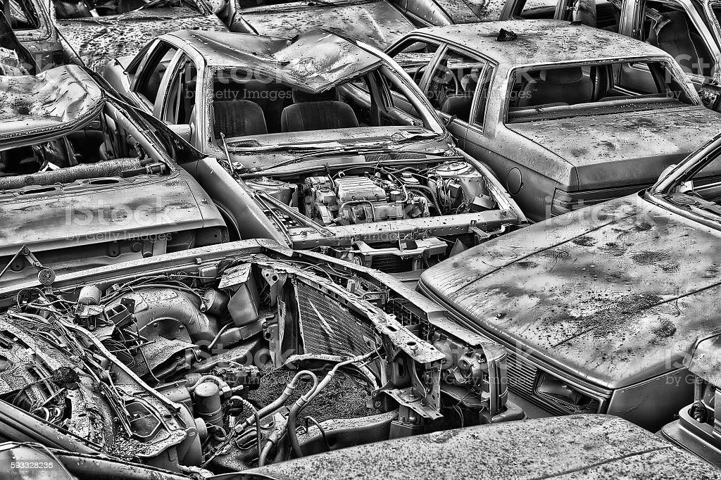 Junkyard for cars stock photo