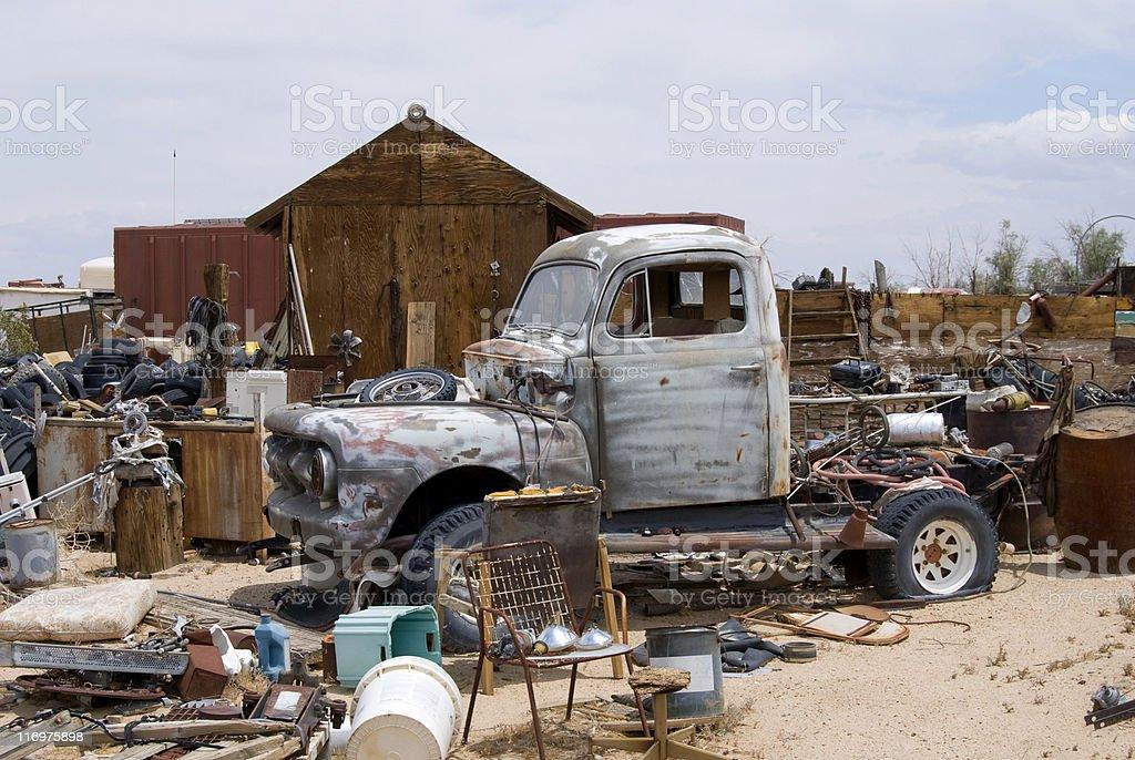 Junkyard pick-up royalty-free stock photo