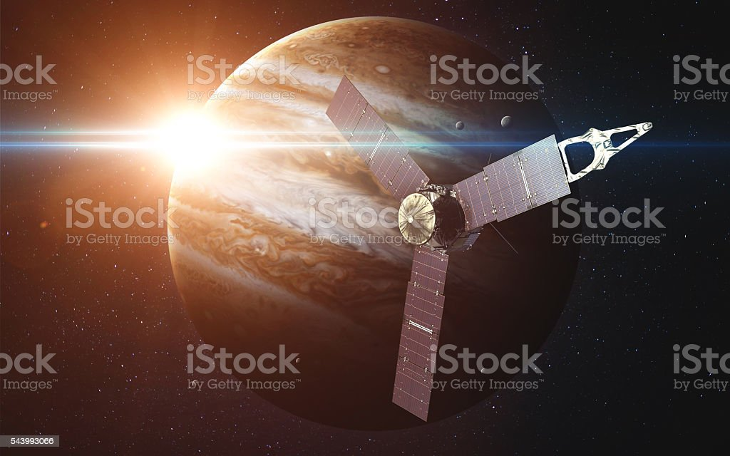 Juno sattelite orbiting Jupiter. Elements of this image furnished by stock photo