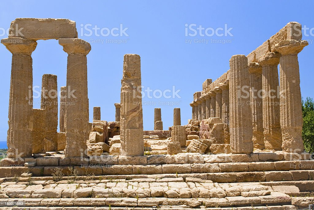 Juno Temple in Valley of the Temples,  Agrigento stock photo